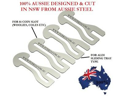 4x GENUINE FOSKO AUSSIE SHOPPING TROLLEY TOKEN MASTER KEY , $1 COIN + ALDI