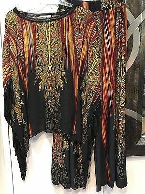 Mother Of Bride Groom Wedding Women's evening Caftan Fringe pant suit Plus 2X 3X