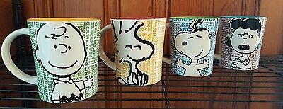 New Peanuts Charlie Brown, Lucy, Snoopy, Woodstock, Mug Set By Gibson