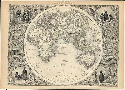 World Eastern Hemisphere Asia Mts. Moon Africa Australia c.1850 old Tallis map
