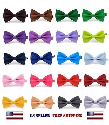 BOW TIE MENS ADJUSTABLE SOLID COLOR WEDDING TUXEDO NECKTIE US SELLER Free Ship