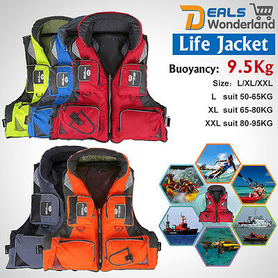 Fish Polyester Adult Safety Life Jacket Survival Vest Swim Boating Drifting