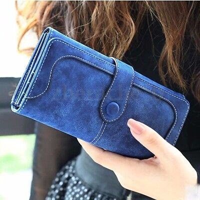 US Women Leather Wallet Button Long Clutch Purse Card Holder Case Handbag Bag