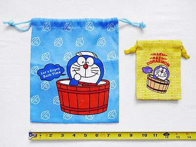 """LOT of 2 NEW DORAEMON Collectible Cinch Drawstring Top Bag/Pouch/Sack 7.75"""" x 9"""""""