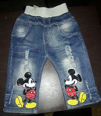 Baby Boy's Or Girls Mickey Mouse Jeans Pants Size 6-14Months