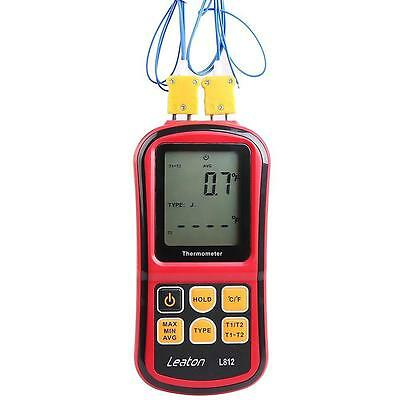 Leaton® Digital Thermocouple Thermometer Dual channel LCD Backlight...