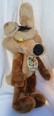 """WARNER BROS 18"""" WILE E COYOTE special effects 1993 Vintage Plush Original Tags"""