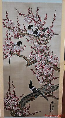 Beautiful Vintage Chinese Scroll Painting of Magpies in a Blossoming Plum Tree