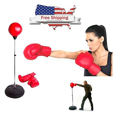Punch Punching Bag Ball Speed Stand Boxing Training Practise w Gloves & Pump New