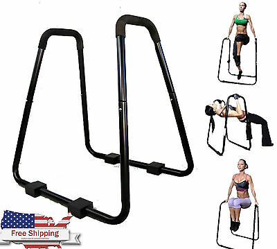 Dip Station Heavy Duty Stand Body Press Tricep Core Bars Pushup Exercise Gym New