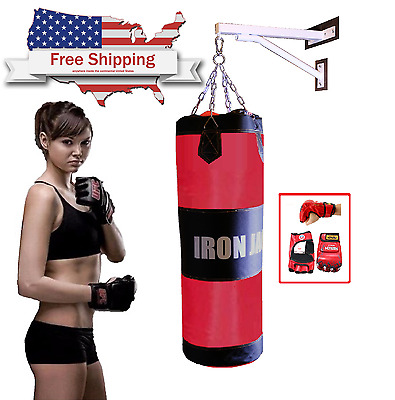 Wall Mount Heavy Bag Hanger Stand With Boxing Punching Bag Martial Art W Gloves