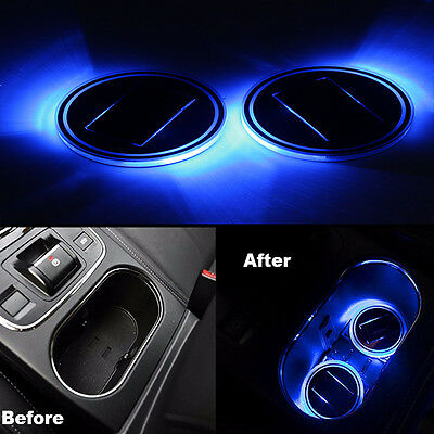 Set of 2 Solar Energy Car SUV Cup Holder Bottom Pad Blue LED Light Cover Trim