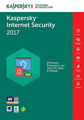 Kaspersky Internet Security 2017 ( 1PC, 2PC, 3PC, 5PC,10PC / Device 1/2 Year )