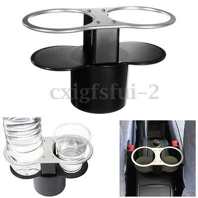 Double Drink Water Bottle Beverage Two Cups Holder Universal Car Stand Mount
