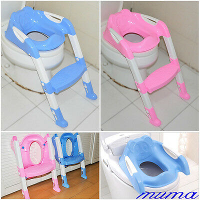 Safety Adjustable Baby Toddler Kids Potty Training Toilet Step Ladder Seat Chair