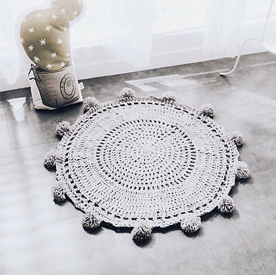 Grey Crochet Handmade Baby's Play Mat Blanket/ Nursery Decor Scandi Kids Rug