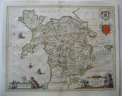 North Wales: antique map by Jan Jansson, c1646