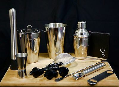 Commercial Quality Stainless Steel Cocktail Shaker Set  & Cocktail Book