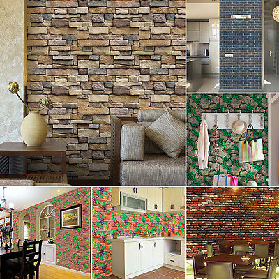 Self-adhesive 3D Brick Wall Paper Sticker Tile Floor Kitchen Bathroom Waterproof