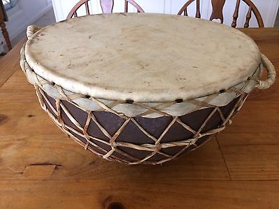 LARGE TRIBAL DRUM 42cm DIA. x 33cm TALL LEATHER BOUND RIVETED METAL PLATE TONE+