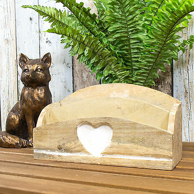 Carved Heart Wooden Letter Rack Tray Desk Holder Rustic Vintage Shabby Chic