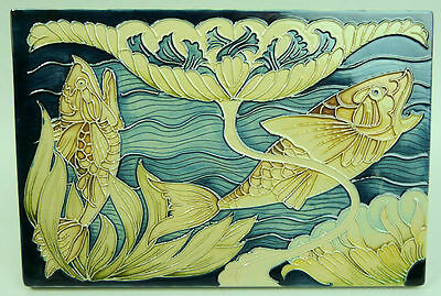 Stylish Moorcroft Art Pottery Plaque Carp & Lilies By Rachel Bishop C.2013