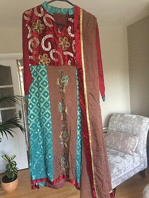 Ladies Indian Dress  Suit Bollywood Fully Stitched Silk Approx Size 12