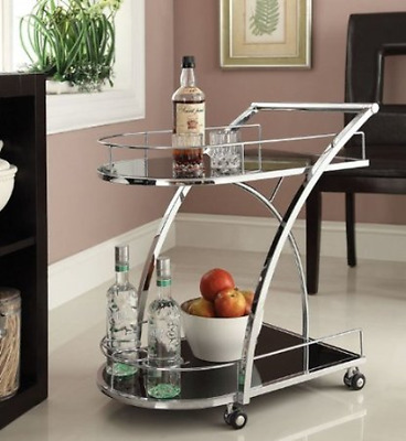 Bar Serving Cart Rolling Storage Tray Trolley Beverage Holder Wine Drink Kitchen