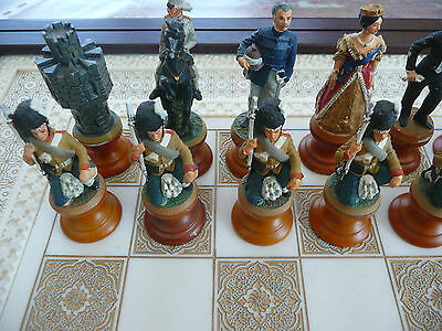 "FRANKLIN MINT ""Indian Mutiny"" pewter Chess game jeu Echecs England Soldiers Army"