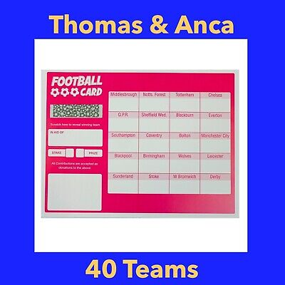 10x Charity Fundraising Football Scratch Cards - 20 Team