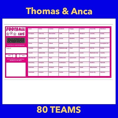 10x Charity Fundraising Football Scratch Cards - 80 Team