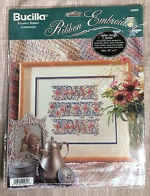"Bucilla Stamped Ribbon Embroidery Kit Home Sweet Home New Sealed 10"" x 8"" 40969"