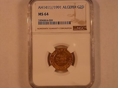 Algeria Gold 2 Dinar NGC Graded MS 64  AH 1411 Rare coin in extremely rare grade