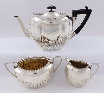 Antique Victorian Solid Sterling Silver Tea Service Tea Pot/Sugar/Milk 1,104g