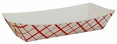 """Southern Champion Tray 07091 Paperboard Red Check Hot Dog Tray, 7"""" Length X 2-3"""