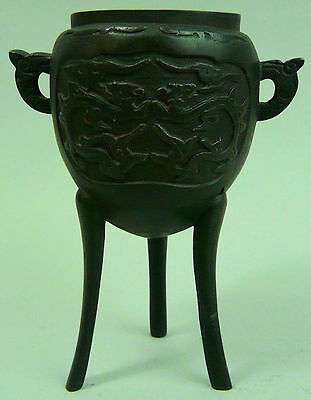ANTIQUE CHINESE BRONZE INCENSE POT 19th CENTURY