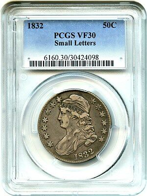 1832 50c PCGS VF30 (Small Letters) Bust Half Dollar