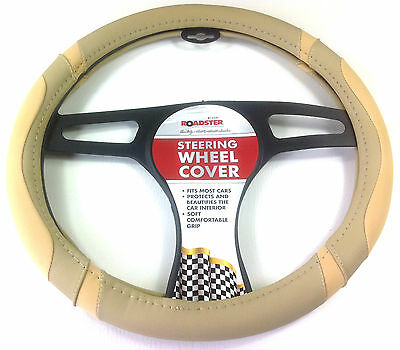 POWER TAN car STEERING WHEEL COVER GLOVE UNIVERSAL 37-39CM DELUX soft BROWN