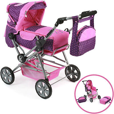Bayer Chic 2000 Puppenwagen Road Star (Dots Purple-Pink)