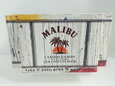 Malibu Rum Bar Caddy Napkin Holder Plastic Faux Wood Tiki Man Cave BBQ Picnic