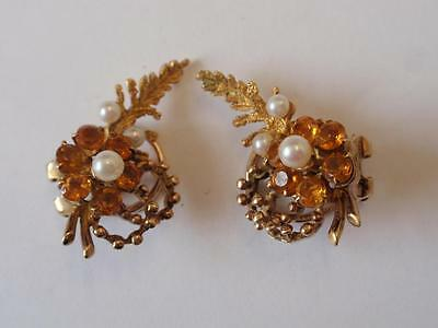 Vintage 1960S 9Ct. Gold Citrine & Pearl Floral Earrings - Clips