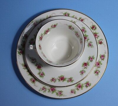 BLYTH Diamond China. Trio, Cup Saucer and Plate    Pink Roses  c1913~1935