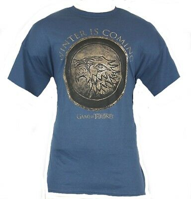 """Game of Thrones Mens T-Shirt - """"Winter is Coming"""" Bronzed Stark Logo Image"""