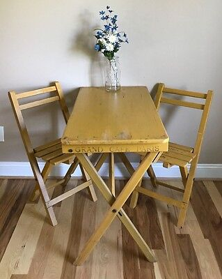 Rare Antique Yellow Wood French Cafe Bistro Table Two Chairs Grand Paris