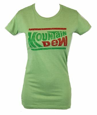 Mountain Dew Girls Juniors  T-Shirt -  Two Color Classic Old School Logo Image