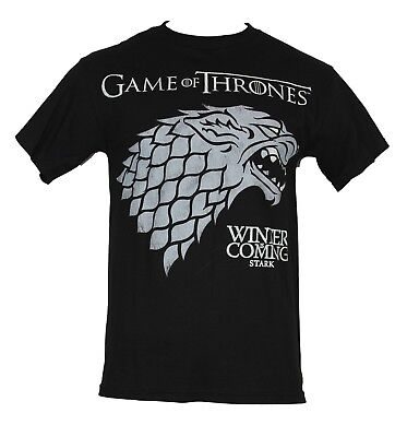 """Game of Thrones Mens T-Shirt - """"Winter is Coming"""" Stark Wolf Gray Crest"""