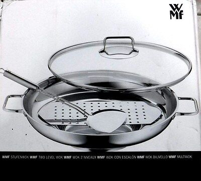 WMF 4 PC WOK - Two Level Wok with Wok Turner & Rack- NEW IN BOX 893