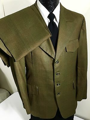 Vtg 50-60's Steins Men MoD Green SHADOW PLAID 4-BTN Wool BELTED BACK Suit 40 R