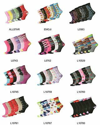 6 & 12 Pairs Ladies Women's Coloured Design Cotton Blend Casual Socks Adults 4-7