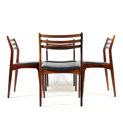 4 Retro Vintage Danish Vestervig Eriksen Rosewood Leather Dining Chairs 60s 70s